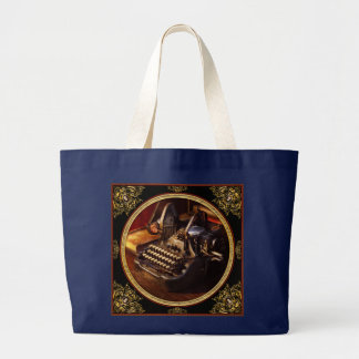 Steampunk - Oliver's typing machine Large Tote Bag
