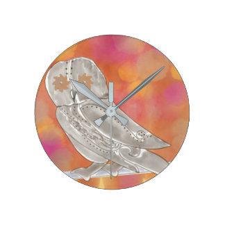 Steampunk Owl Round Clock