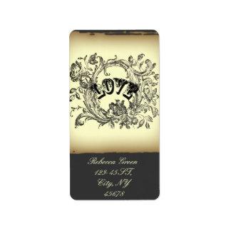 steampunk pastel yellow flourish swirls victorian label