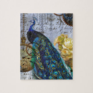 steampunk peacock yellow rose time clock jigsaw puzzle