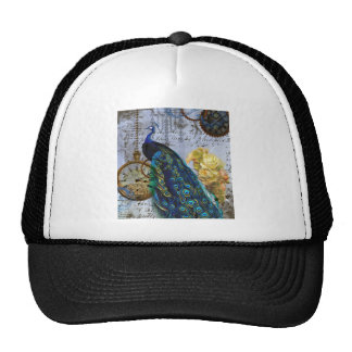 steampunk peacock yellow rose time clock trucker hat