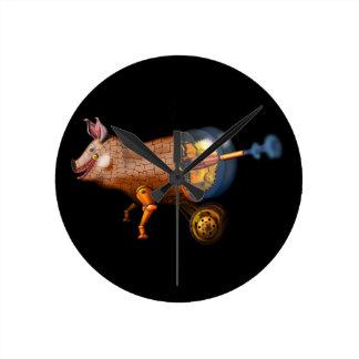 steampunk pig wall clock