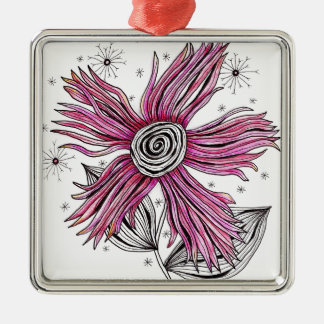 Steampunk Pink Zentangle Flower Christmas Tree Ornaments