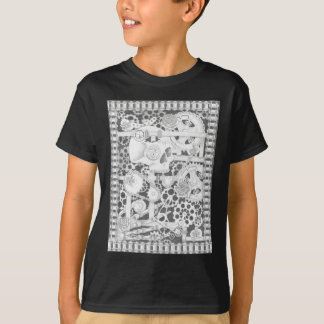 steampunk pipes, flowers and skeleton T-Shirt