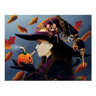 Steampunk Pumpkin Witch Postcard