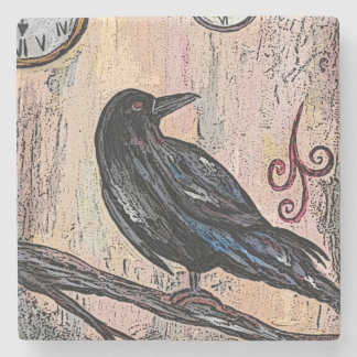 Steampunk Raven and Clocks Stone Coaster