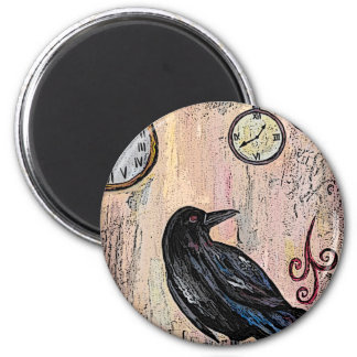 Steampunk Raven with Clocks Magnet