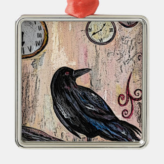 Steampunk Raven with clocks Metal Ornament