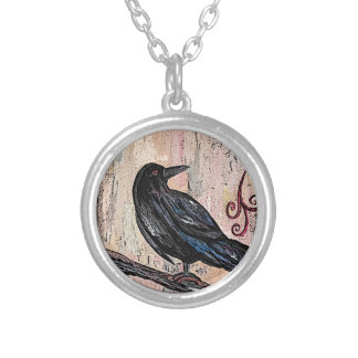Steampunk Raven with Clocks Silver Plated Necklace