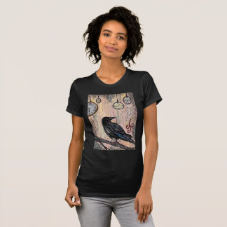 """Steampunk Raven with Clocks"" T-Shirt"