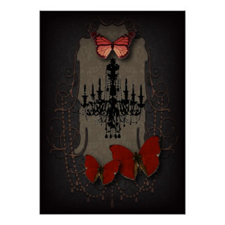 Steampunk red butterfly black chandelier poster
