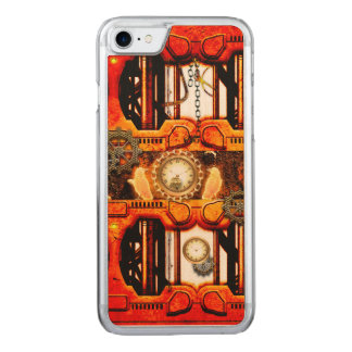 Steampunk red golden design carved iPhone 7 case