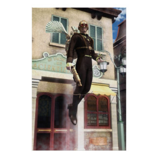 Steampunk rocket man poster