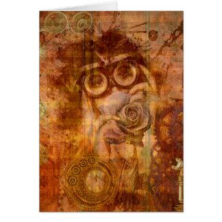 Steampunk Rose Card