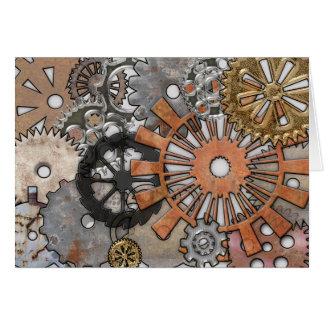 STEAMPUNK RUSTY GEARS CARD