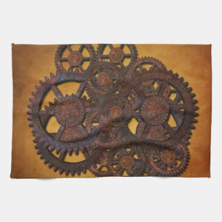 Steampunk Rusty Gears Kitchen Towel
