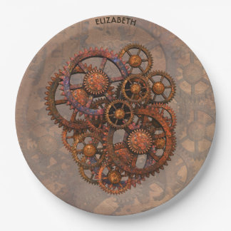 Steampunk Rusty Metal Gears With Shadows 9 Inch Paper Plate