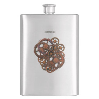 Steampunk Rusty Metal Gears With Shadows Hip Flask