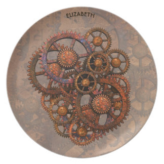 Steampunk Rusty Metal Gears With Shadows Party Plate