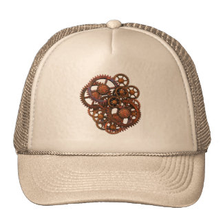 Steampunk Rusty Metal Gears With Shadows Trucker Hat