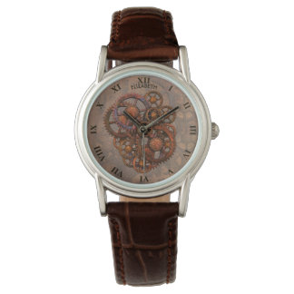 Steampunk Rusty Metal Gears With Shadows Watch