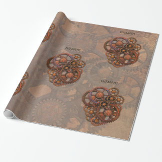 Steampunk Rusty Metal Gears With Shadows Wrapping Paper