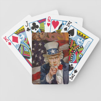 Steampunk Sam Patriotic US Flag Design Bicycle Playing Cards