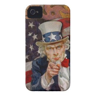Steampunk Sam Patriotic US Flag Design Case-Mate iPhone 4 Cases