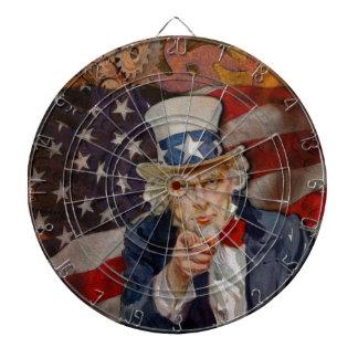 Steampunk Sam Patriotic US Flag Design Dartboard