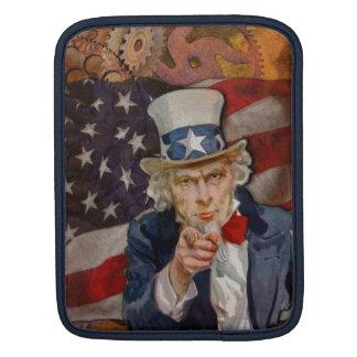 Steampunk Sam Patriotic US Flag Design iPad Sleeve