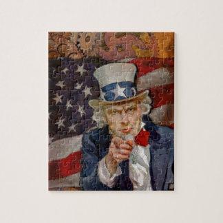 Steampunk Sam Patriotic US Flag Design Jigsaw Puzzle