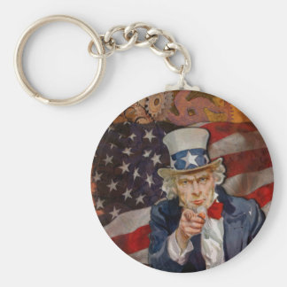 Steampunk Sam Patriotic US Flag Design Keychain