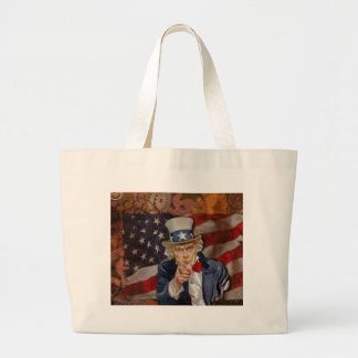 Steampunk Sam Patriotic US Flag Design Large Tote Bag
