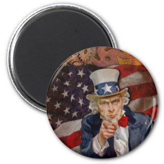 Steampunk Sam Patriotic US Flag Design Magnet