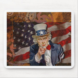 Steampunk Sam Patriotic US Flag Design Mouse Pad