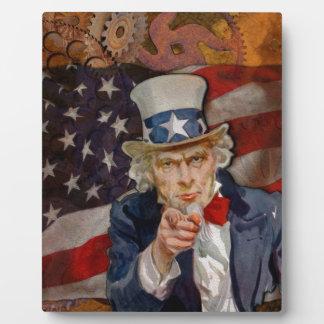 Steampunk Sam Patriotic US Flag Design Plaque