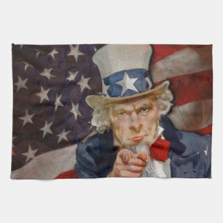 Steampunk Sam Patriotic US Flag Design Towel