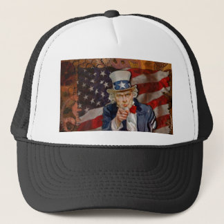 Steampunk Sam Patriotic US Flag Design Trucker Hat