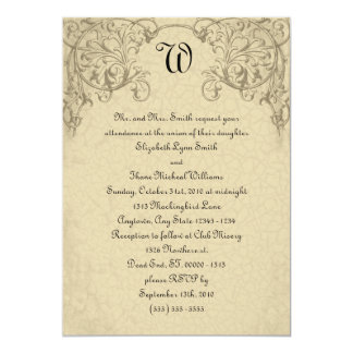 Steampunk Scroll Monogram Wedding Invitation