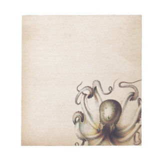 Steampunk Sea Octopus Muted Tan Travelogue Theme Notepads