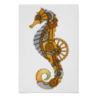 Steampunk Seahorse Poster