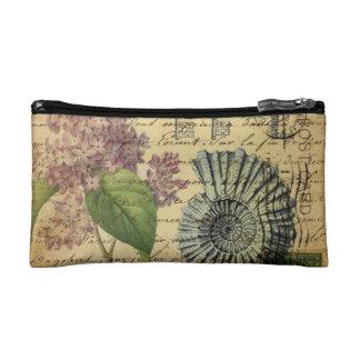 steampunk seashell modern vintage French Lilacs Makeup Bag
