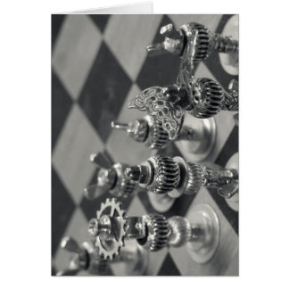 Steampunk Silver Chess Figure Pieces Card