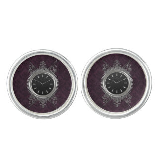 Steampunk Silver Metal Clock Cufflinks