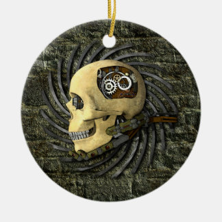 Steampunk Skull Ceramic Ornament