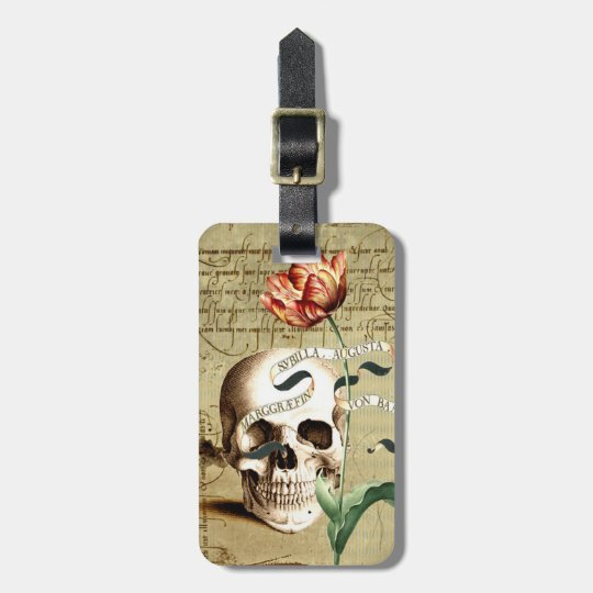Steampunk Skull Floral Halloween Luggage Tag