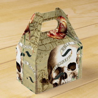 Steampunk Skull Floral Writing Halloween Favor Box