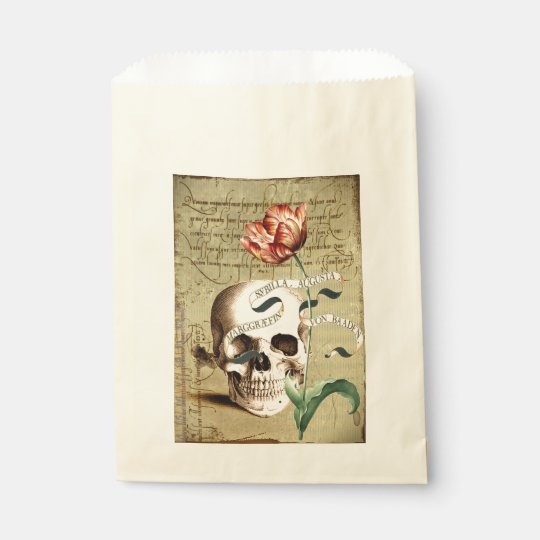 Steampunk Skull Floral Writing Halloween Favour Favour Bag