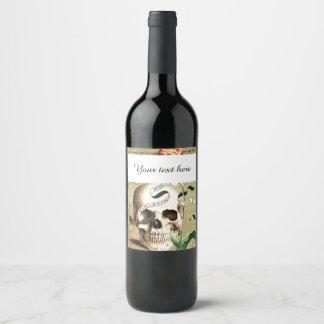 Steampunk Skull Halloween Wine Bottle Label