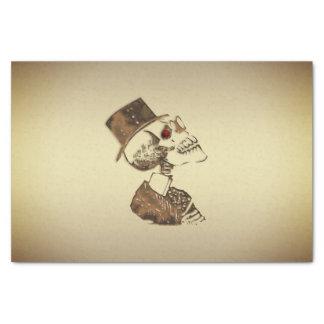 Steampunk Skull on Gold Tissue Paper